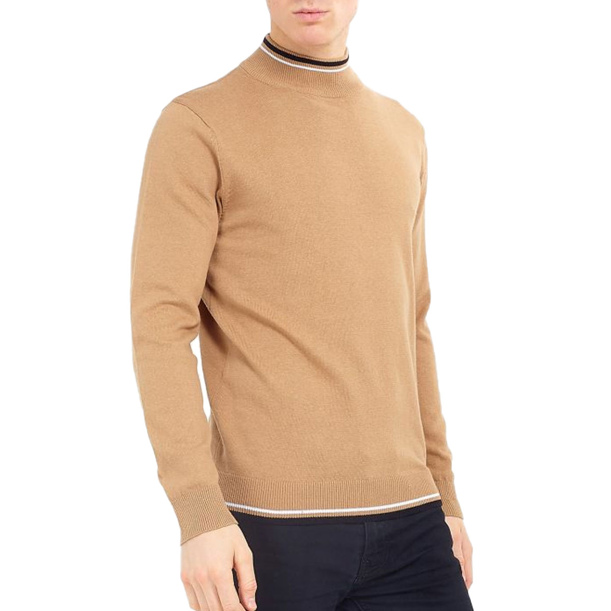 Brave-Soul-Mens-Turtle-Neck-Jumper-Contrast-Tipped-Hallis thumbnail 24