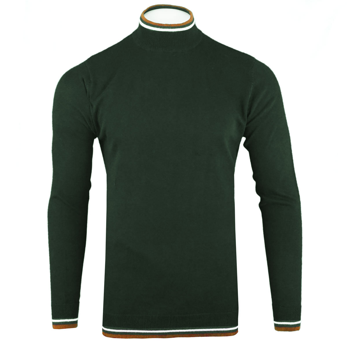 Brave-Soul-Mens-Turtle-Neck-Jumper-Contrast-Tipped-Hallis thumbnail 14