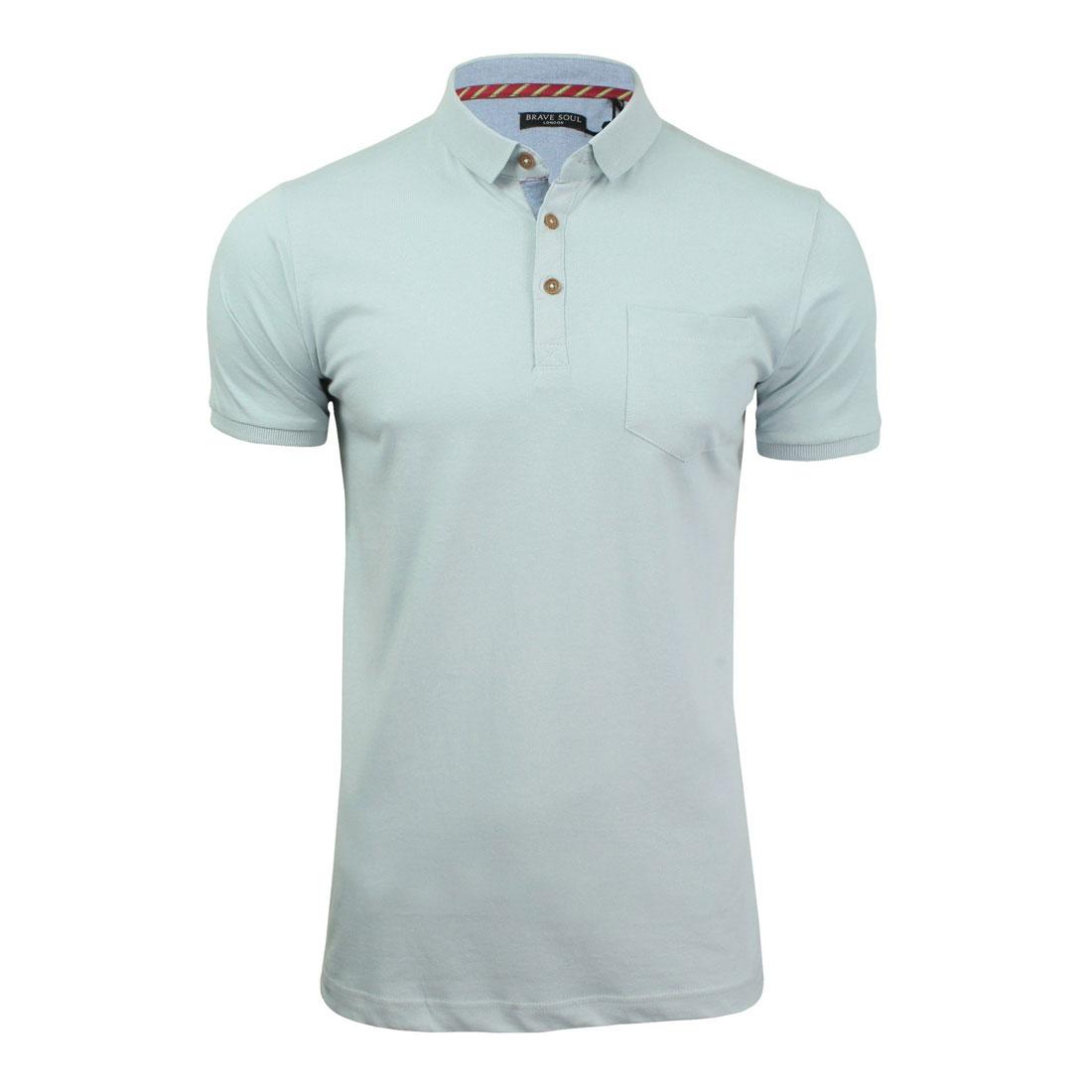 Brave-Soul-Hommes-Polo-T-Shirt-034-Julius-039-S-Coton-A-Col-Manches-Courtes-Haut-Decontracte miniature 13