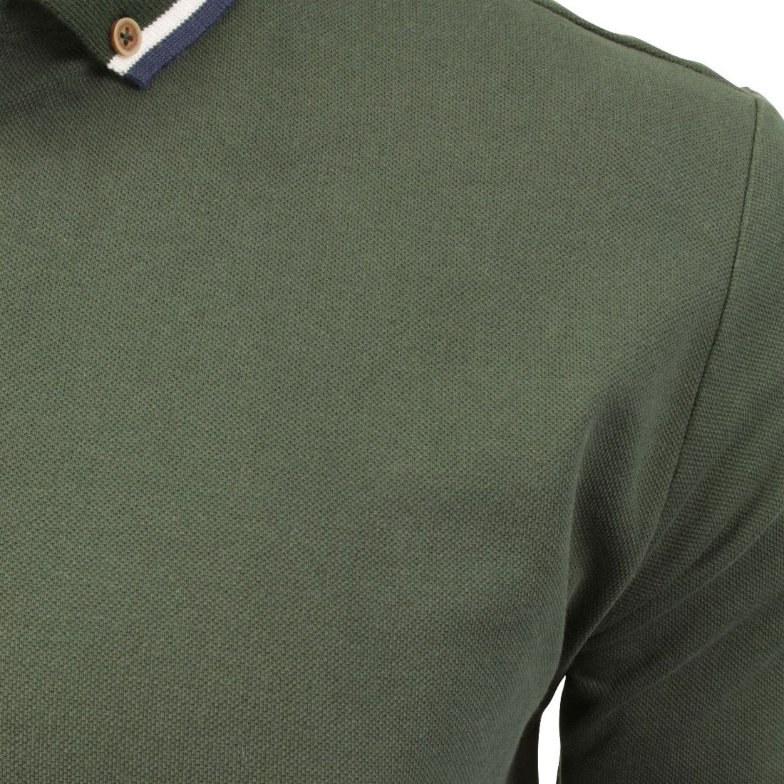 Da Uomo Polo T Shirt Brave Soul Kennedy Piqué Cotone Manica Lunga Top Casual