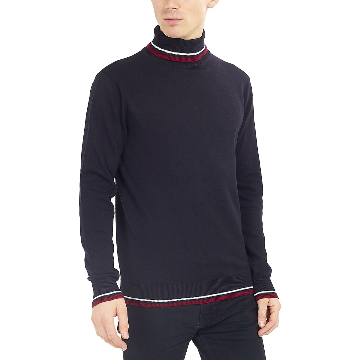 Brave-Soul-Mens-Turtle-Neck-Jumper-Contrast-Tipped-Hallis thumbnail 11