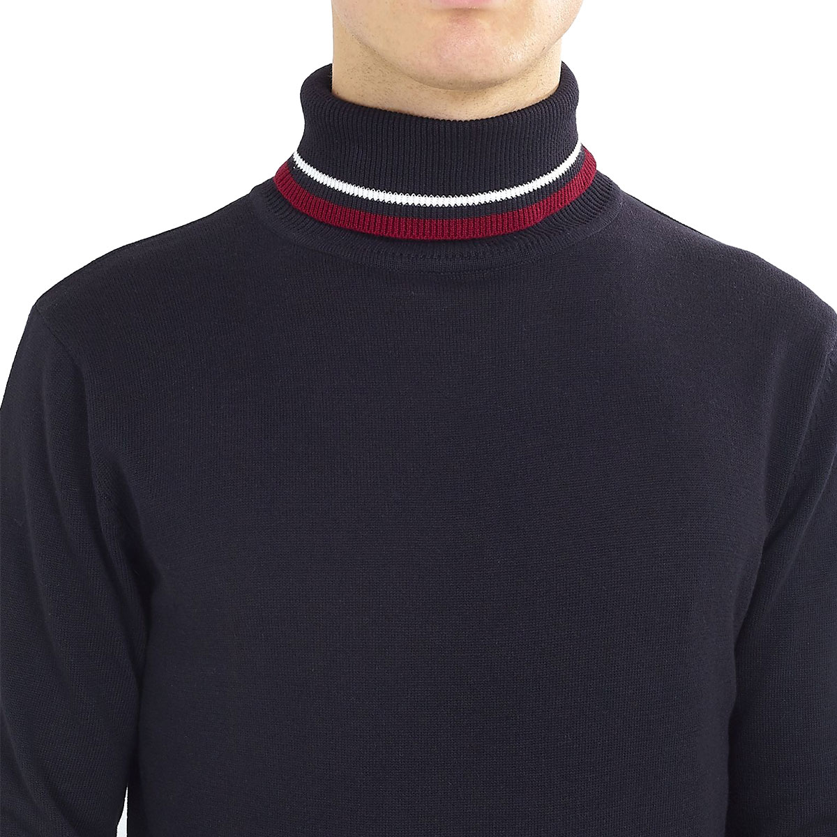 Brave-Soul-Mens-Turtle-Neck-Jumper-Contrast-Tipped-Hallis thumbnail 13