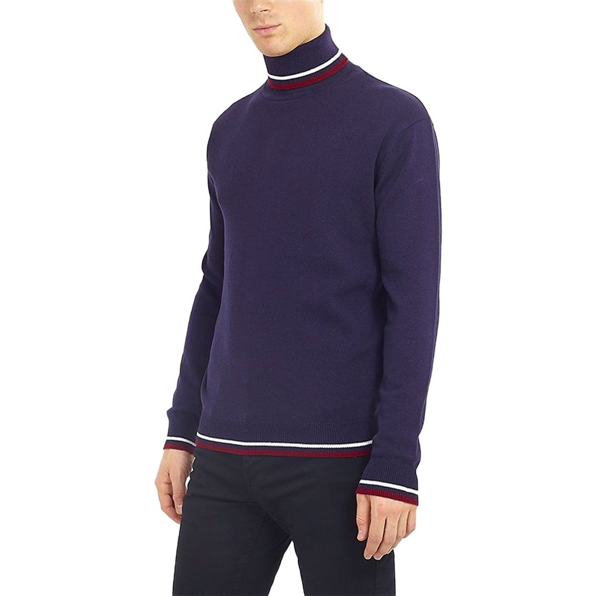 Brave-Soul-Mens-Turtle-Neck-Jumper-Contrast-Tipped-Hallis thumbnail 3