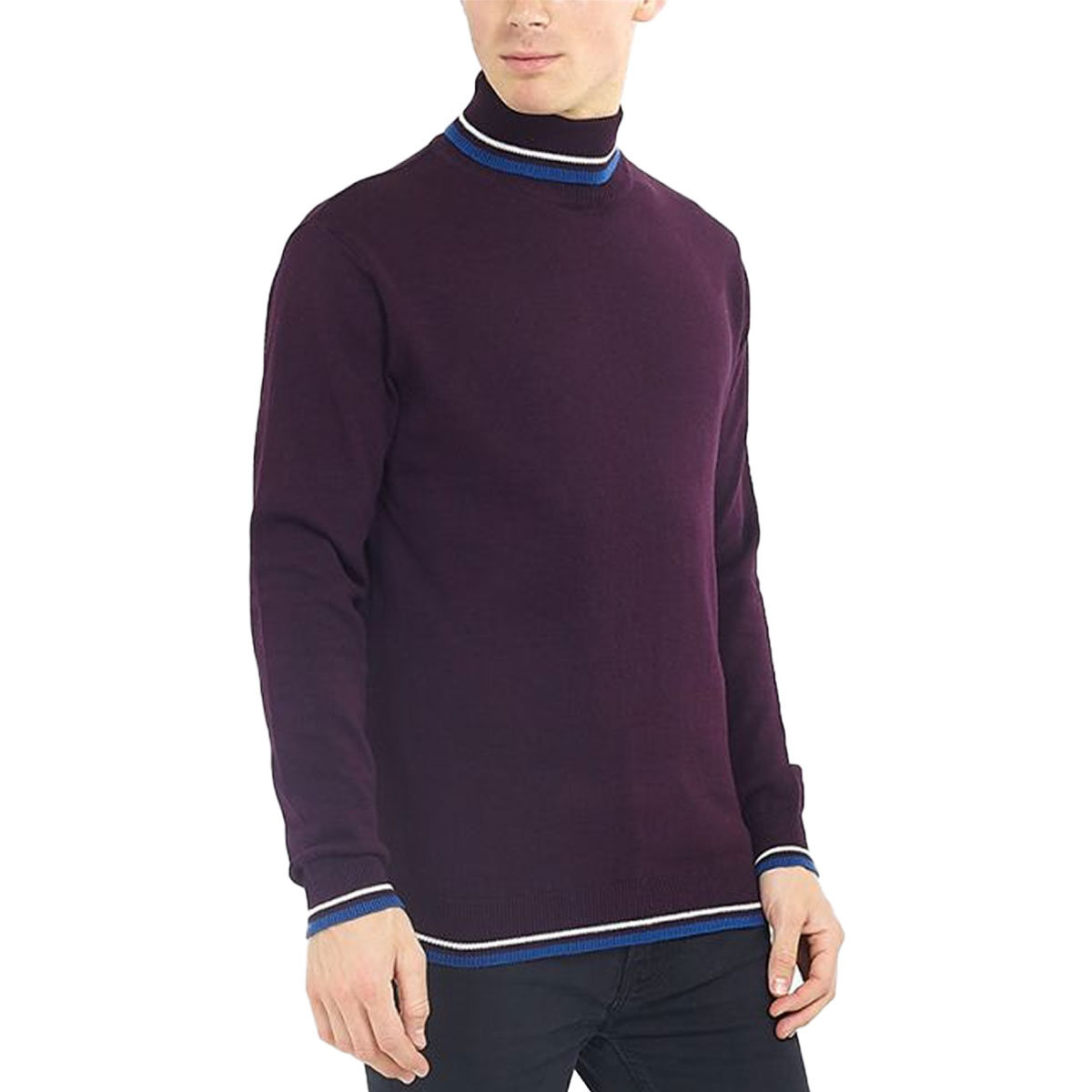 Brave-Soul-Mens-Turtle-Neck-Jumper-Contrast-Tipped-Hallis thumbnail 7